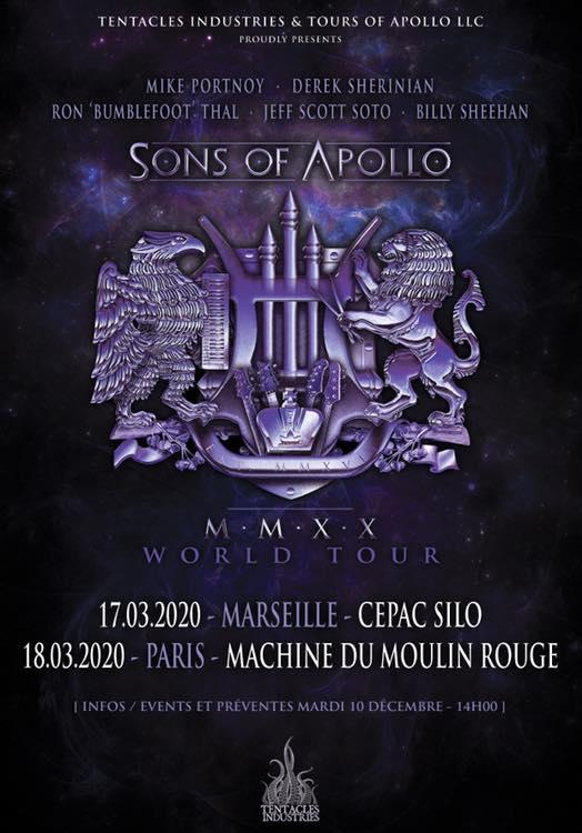 SONS OF APOLLO de passage en France en mars