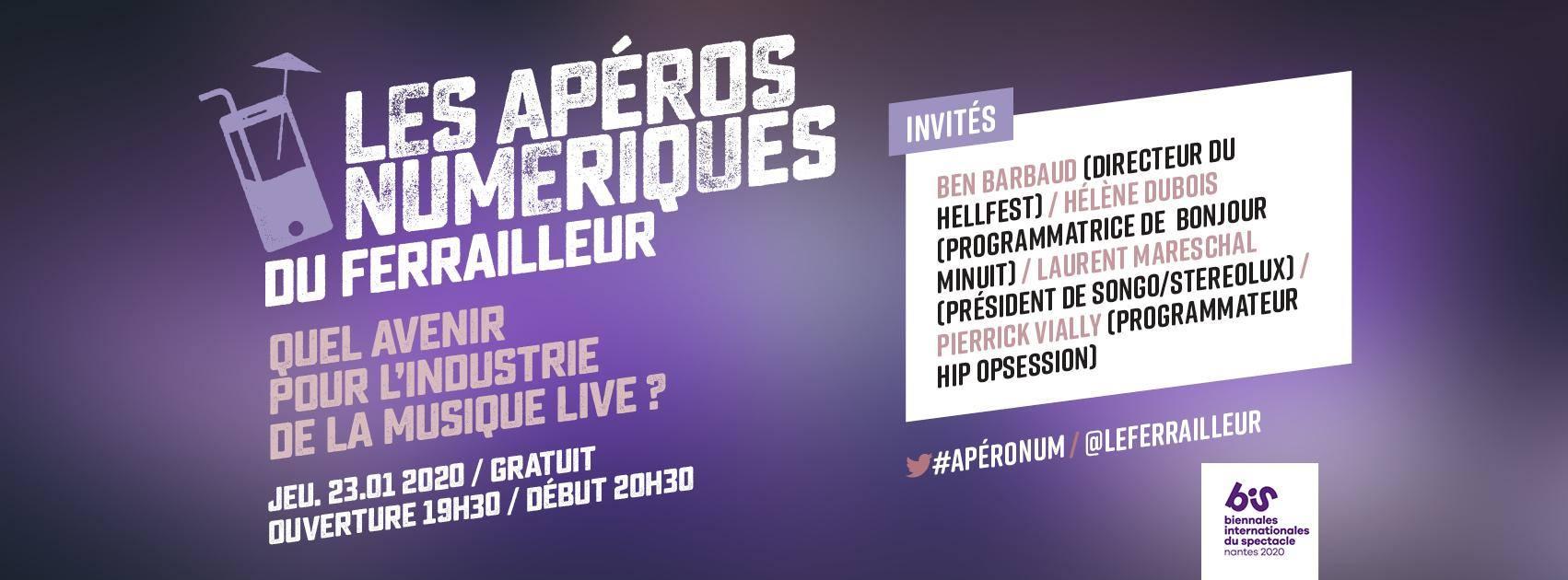 Rappel : le nouvel Apéro Numérique du Ferailleur intitulé «Quel avenir pour l'industrie de la musique live ?» se tiendra demain 23 janvier