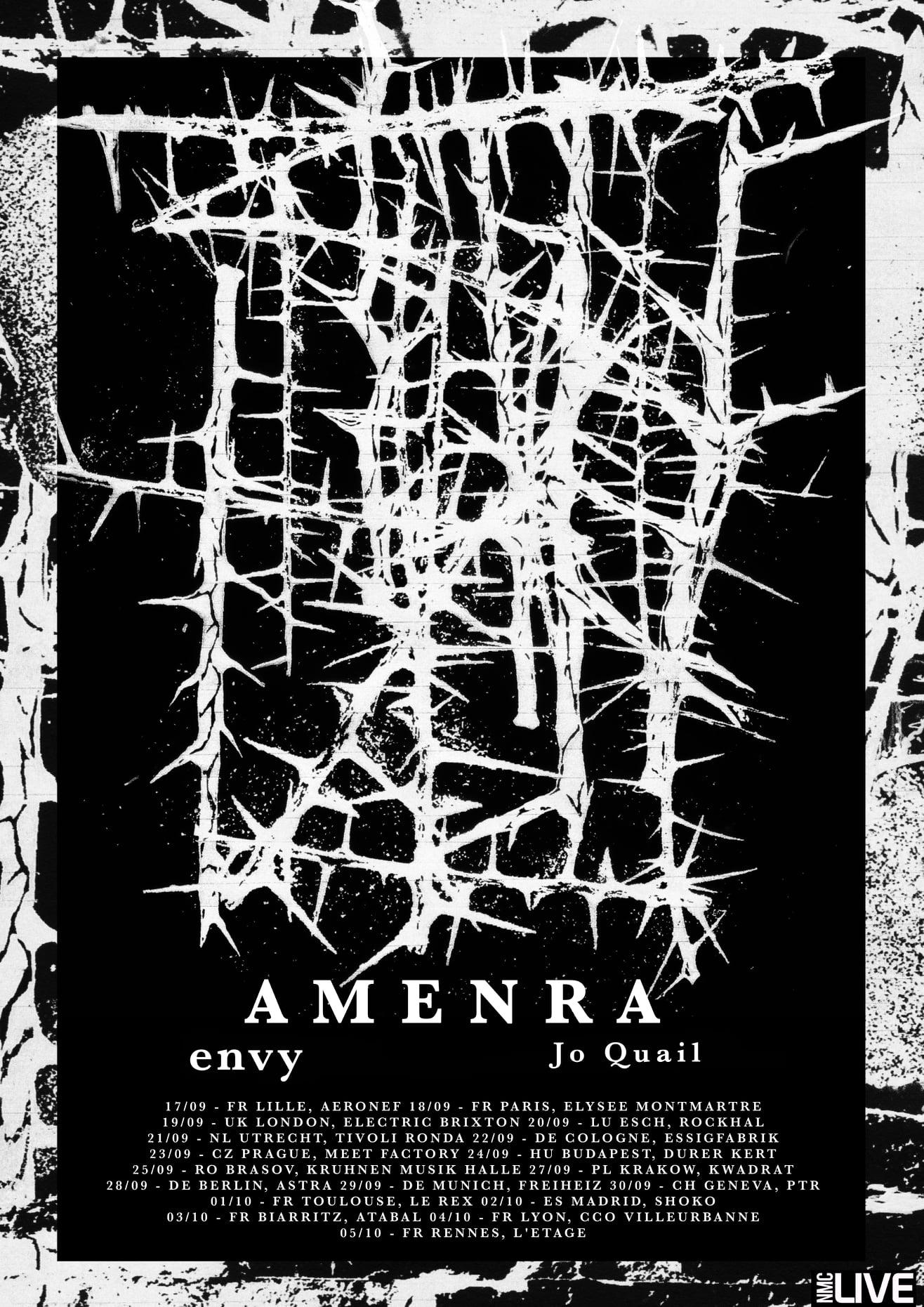 AMENRA, ENVY et JO QUAIL en tournée européenne à l'automne 2021
