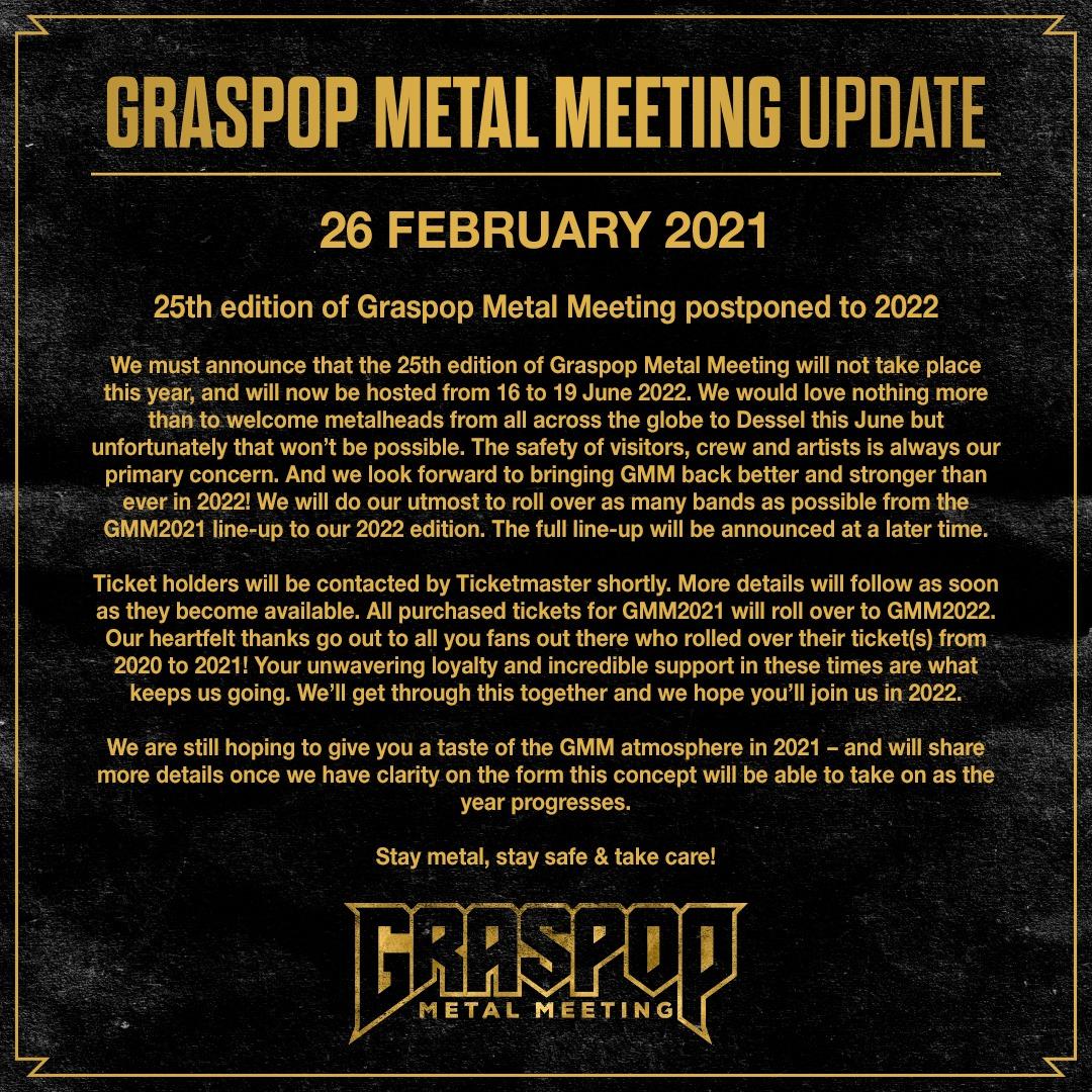 La vingt-cinquième édition du Graspop Metal Meeting reportée à 2022